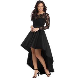 黒く長い袖のレースのハイ・ローサテンの夕方のプロムのガウンの服