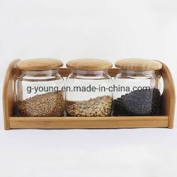 La madera de madera de bambú Set Jarra de cristal de la preservación de especias