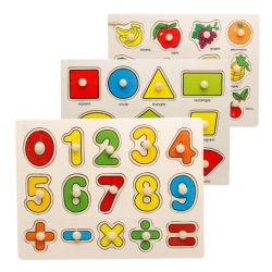 Hölzernes Montessori Baby-pädagogisches Spielzeug färbt Zahl-Alphabet-Tiertransport-Puzzlespiel