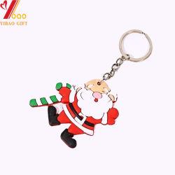 Cadeaux de Noël de gros de souvenirs trousseau caoutchouc PVC trousseau 3D de l'anneau de clé