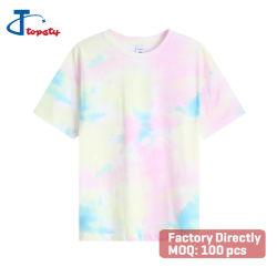 주문을 받아서 만들어진 짧은 소매 느슨하게 적합하던 면 또는 스판덱스 여자의 동점 염료 t-셔츠