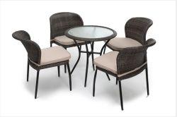 De Openlucht Comfortabele het Dineren van de Rotan van het Meubilair Rieten Vastgestelde 5PCS Reeks van uitstekende kwaliteit