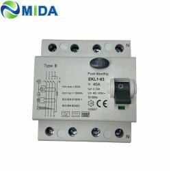 Tipo B RCCB CCD 2P 4P 40 a 63 amperios 10KA 230V 415V 30mA disyuntor de corriente residual