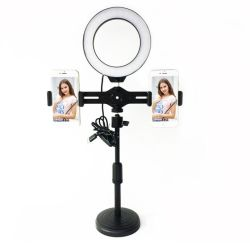 Moda 8 w 6 polegadas círculo LED luz circular com suporte telefone duplo