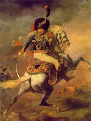 Chef d'oeuvre de la peinture d'huile de la reproduction, un officier commandant de l'Chasseurs une charge