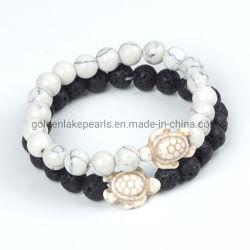 Gemstone Beads Animal tortue Tortue de Mer de 8 mm bracelet de pierres de lave noire
