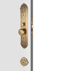 Antiker amerikanischer Standardzylinder-Eingang Handleset Verschluss-Bronzehebel Locksets