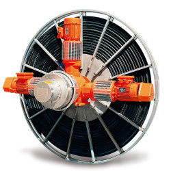 Enroulement du câble périphérique, notamment au printemps et à moteur enrouleur de câble