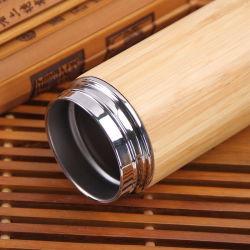 tazza creativa dell'acqua di vuoto 450ml della tazza del commercio all'ingrosso dell'acciaio inossidabile del caffè di tè della tazza di marchio su ordinazione di bambù di legno di bambù naturale della chiavetta