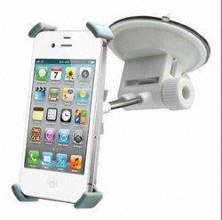 أداة التركيب العامة للسيارة لهاتف iPhone 4/4، مع إمالة مهايئ الرأس والدوران، وتصميم أنيق