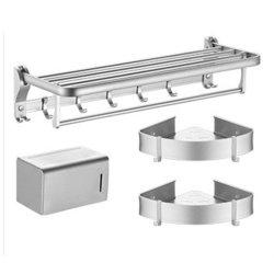 Insiemi del Rod 3 di bagno della stanza da bagno singoli del tovagliolo del basamento del doppio del basamento mobile di alluminio puro di angolo delle spazzole pratiche della toletta