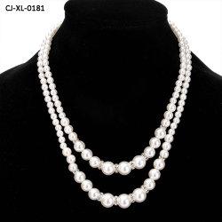 Los fabricantes de moda mayorista collar con reborde de la Perla de imitación Diamante juego temperamento el doble de cadena larga Jersey Pearl