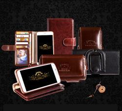 Caisse de cuir de type de pochette de téléphone de chiquenaude de téléphone mobile de cellules pour le bord de Samsung S7 avec le clip ceinture