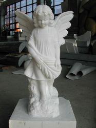 Het witte Marmeren Beeldhouwwerk van de Tuin/Marmeren Standbeeld/Marmeren Beeldhouwwerk/het Beeldhouwwerk van de Steen/het Standbeeld van de Steen/het Standbeeld van de Engel/de Gravure van de Steen