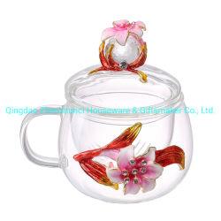 Copos de chá de vidro feitos à mão com flores e decoração do cordão