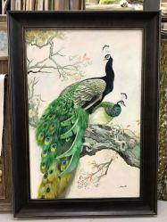 Enmarcado Peacock Óleo sobre tela