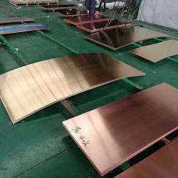 Placa de cobre metálico em liga de pureza para elementos de decoração