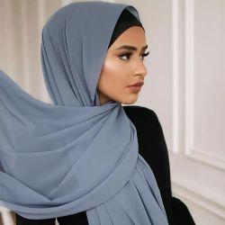 180cmの新しいクレープのショールのイスラム教のドバイHijabの柔らかいスカーフのマレーシアのシフォンTudung
