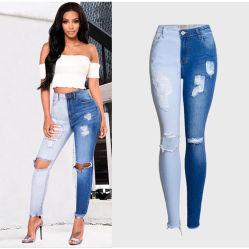 Mujer de pantalones de algodón de cintura alta moda personalizada skinny jeans de mezclilla Rip