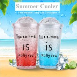 500ml sem BPA parede dupla no Verão de plástico de gelo garrafa de água com palha