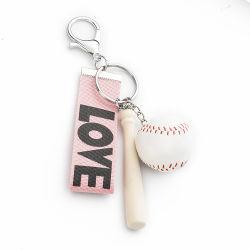 Couleur bois trousseau de clés de l'artisanat en bois ovale batte de baseball de la chaîne de clé