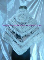 Hand-Knitted Caddice Cape com peles de coelho(ODS0704B))