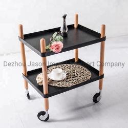 Meubles de cuisine en bois servant de rouler le chariot mobile Chariot de salle à manger de stockage