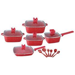 Литой алюминиевый повредить антипригарное покрытие посуда для приготовления пищи (с красным мрамором камня покрытие)