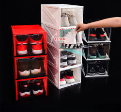 Acrílico magnética apilable personalizado gigante pantalla frontal gota transparente de plástico de zapatillas Nike de almacenamiento magnético transparente caja de zapatos