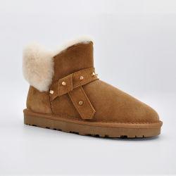 OEM no Outono de moda calçado de couro Senhoras calçados impermeáveis Inverno botas de neve sapatas das mulheres com o preço do fornecedor