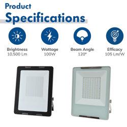 La norme ISO 9001 2015 Factory Direct, IP65, 4KV, 100 W contre les surtensions d'éclairage extérieur avec ce projecteur à LED SAA Bis UL ETL DLC Inmetro Certificat pour le jardin