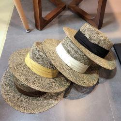 썬 프로텍션(Sun Protection)을 위한 고품질 리본인 Holow Staw HAT 여성용