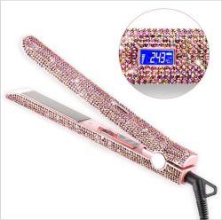 W162 로즈 금 다이아몬드 Kecoklatan 직선기 홈 살롱을%s 빠른 Nano 티타늄 직업적인 머리 직선기 컬러