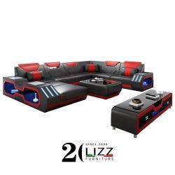 Sala de estar moderna transversal de couro sofá com 7 cores, a iluminação de LED