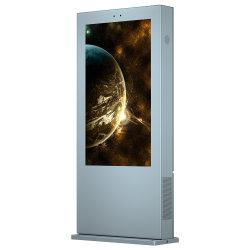 Climatiseur plancher de l'écran vertical de la publicité extérieure 65 Inch Touch kiosque de la machine-de-chaussée de l'écran de la publicité interactive permanent Stand d'affichage sans fil