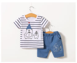 Alta qualidade de algodão no Verão Casual Bonito listrado manga curta Bebê Vestuário