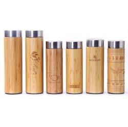 Beber chá Material de bambu, fibra de aço inoxidável de vácuo vaso de chá de Água