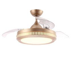 Novo design de fábrica capota lâminas ocultas ventilador de teto com luz LED e controlo remoto DC cobre puro ventilador de Ouro