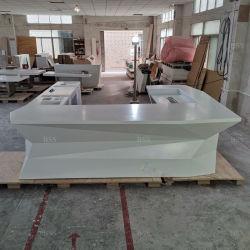 현대적인 U자형 긴 백색 코리안 대리석 맞춤형 대리석 고급스러움 레스토랑 바 카운터