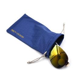 Saco de pano macio para óculos de microfibra para impressão com logótipo Bolsa de embalagem para óculos de sol Com dois cordões laterais