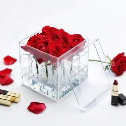 カスタマイズされた明確なアクリルの贅沢なローズのアクリルの花の陳列ケース