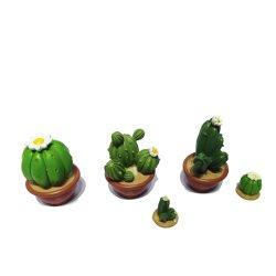 Color Verde hecho a mano resina Cactus Statues plantas para Home Deco