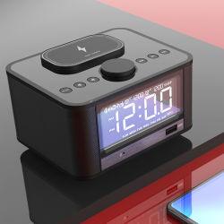 Orologio con sveglia wireless Qi con altoparlante musicale Bluetooth LCD dell'hotel
