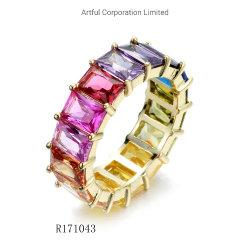 Chapado en oro Anillo de plata del arco iris
