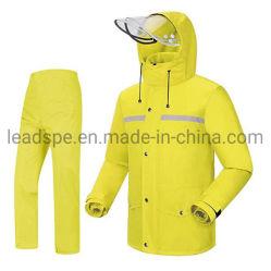 En20471 PU/PVC Revestimento respirável reflexo Rainsuit DE SEGURANÇA À PROVA DE VENTO Raincoat Rainwear