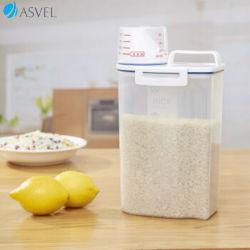 Scatola di plastica libera asciutta chiusa ermeticamente dell'erogatore del silos di immagazzinamento dei contenitori di memoria dell'alimento del riso di Asvel Uppetly BPA con la tazza di misurazione versabile del becco per la farina del cereale e cuocere