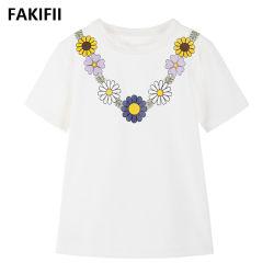 2020 marca la moda de alta calidad Nuevo Crisantemo Flores Imprimir ropa deportiva niña bebé manga corta T-Shirt