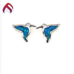 لطيف 925 فضية الحيوانات الطيور المحاجر اصطناعي مختبر الاوبال الأزرق مجوهرات الماس