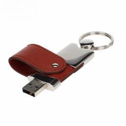 شعار مخصص جلد معدني USB فلاش مفتاح محرك الأقراص سعة 128 جيجابايت محرك أقراص USB 2.0 سعة 4 جيجابايت مزود بذاكرة سعة 16 جيجابايت سعة 64 جيجابايت عصا