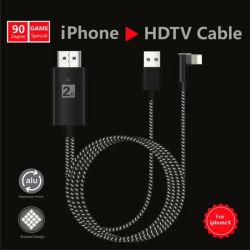 2m de Bliksem van 90 Graad aan HDMI de Adapter van de Kabel 1080P HDTV voor iPhone X